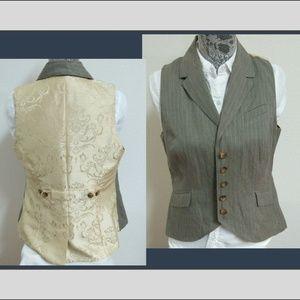 Sz M Tan Brown Cabi Womens Cotton #45I Suit Vest